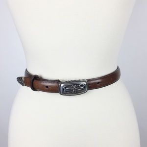 Vintage Brighton Brown Leather Skinny Belt
